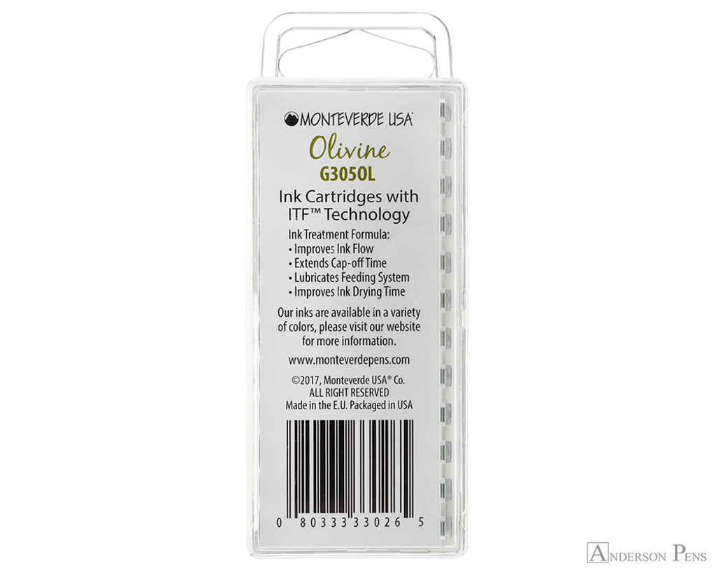 Monteverde Olivine Ink Cartridges (12 Pack) - Back