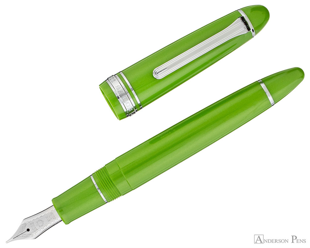 Sailor 1911 Large Fountain Pen - Key Lime with Rhodium Trim - Open