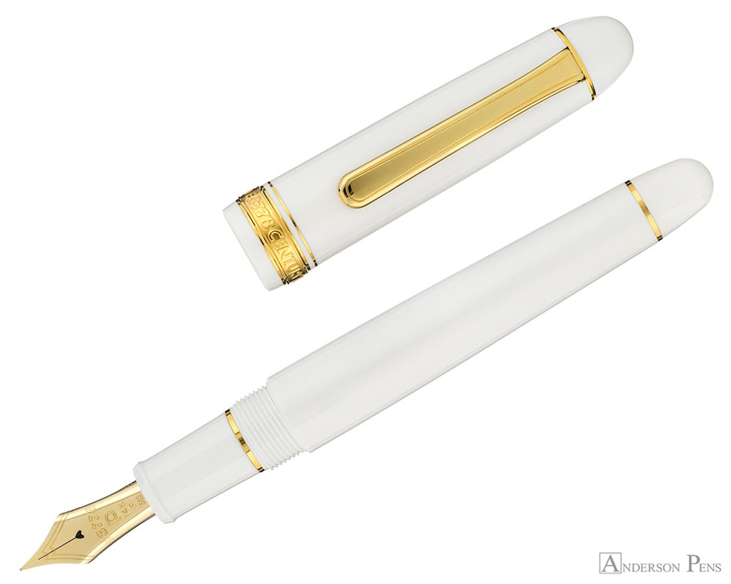 Platinum 3776 Century Fountain Pen - Chenonceau White - Open