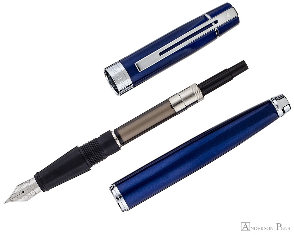 Sheaffer 300 Fountain Pen - Glossy Blue Lacquer with Chrome Trim - Parted Out