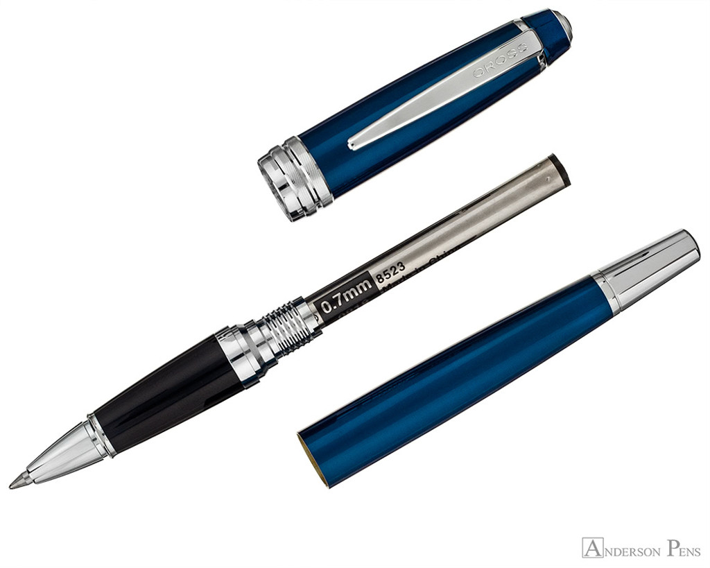 Cross Bailey Rollerball - Blue Lacquer with Chrome Trim - Parted Out