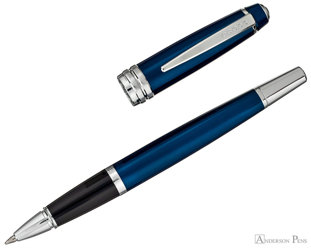 Cross Bailey Rollerball - Blue Lacquer with Chrome Trim - Open