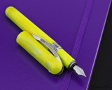 Visconti Breeze Fountain Pen - Lemon on Notebook Open