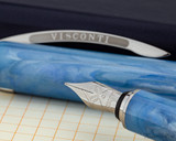 Visconti Breeze Fountain Pen - Blueberry on Notebook Nib