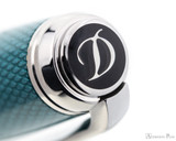 S.T. Dupont Line D Large Fountain Pen - Diamond Guilloche Aquamarine with Palladium Trim - Jewel