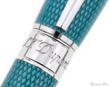S.T. Dupont Line D Large Fountain Pen - Diamond Guilloche Aquamarine with Palladium Trim - Trimband