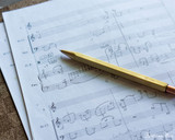 ystudio Classic Brass Copper Mechanical Pencil - on Music