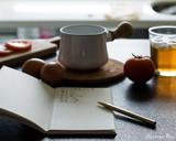 ystudio Classic Brass Copper Slim Ballpoint Pen - On Desk