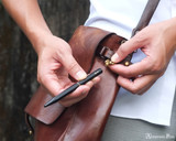 ystudio Brassing Portable Ballpoint - Black - Unscrewing from Lanyard