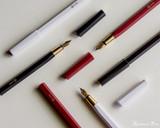 ystudio Resin and Brass - White Fountain Pen - All Open
