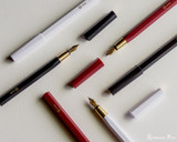 ystudio Resin and Brass - White Fountain Pen - All Open