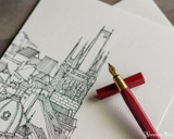 ystudio Resin and Brass - Red Fountain Pen - On Notebook
