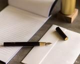 ystudio Resin and Brass - Black Fountain Pen - On Notebook