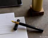 ystudio Resin and Brass - Black Fountain Pen - Open