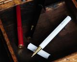 ystudio Resin and Brass - White Rollerball Pen - Open