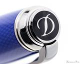 S.T. Dupont Line D Large Fountain Pen - Diamond Guilloche Sapphire with Palladium Trim - Jewel
