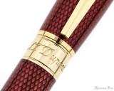 S.T. Dupont Line D Large Rollerball - Diamond Guilloche Ruby with Vermeil Trim - Trimband