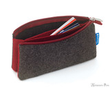 ProFolio Midtown Small Pouch - Charcoal and Maroon - Full