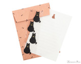 Midori Letter Writing Set with Animal Stickers - Black Cat - Set