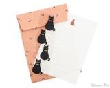 Midori Letter Writing Set with Animal Stickers - Black Cat - Set