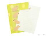 Midori Letter Writing Set with Animal Stickers - Capybara - Set