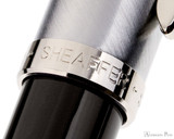 Sheaffer 100 Fountain Pen - Black Barrel with Brushed Chrome Cap - Cap Band