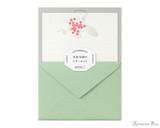 Midori Letter Writing Set - Letterpress Red Bouquet