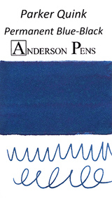 Parker Quink Permanent Blue-Black Ink Sample color swab