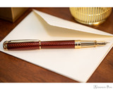 S.T. Dupont Line D Large Fountain Pen - Firehead Guilloche Amber - Beauty 2