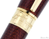 S.T. Dupont Line D Large Fountain Pen - Firehead Guilloche Amber - Trimband