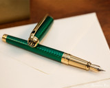 S.T. Dupont Line D Large Fountain Pen - Firehead Guilloche Emerald - Beauty 1