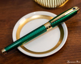 S.T. Dupont Line D Large Fountain Pen - Firehead Guilloche Emerald - Beauty 3