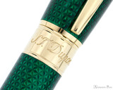S.T. Dupont Line D Large Fountain Pen - Firehead Guilloche Emerald - Trimband