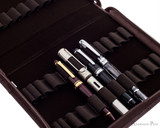 Girologio 24 Pen Case - Brown Leather - Open with Pens Closeup