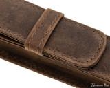 Girologio 1 Pen Case - Bomber Brown - Stitching