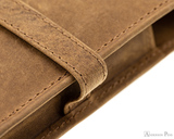 Girologio 4 Pen Case - Saddle Brown - Stitching