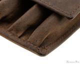 Girologio 4 Pen Case - Bomber Brown - Stitching 2