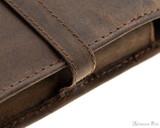 Girologio 4 Pen Case - Bomber Brown - Stitching