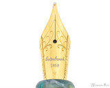 Esterbrook OS Estie Fountain Pen - Sea Glass with Gold Trim - Nib Closeup