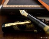 Namiki Chinkin Fountain Pen - Pine Tree - Open on Notebook