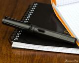 Lamy Safari Fountain Pen - Charcoal - Closed on Notebook