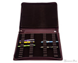 Girologio 48 Pen Case - Brown Leather - Open with Pens