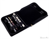 Girologio 12 Pen Case - Black Leather - Open with Pens