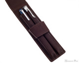 Girologio 2 Pen Case - Brown Leather - Open with Pens