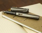 Lamy LX Fountain Pen - Ruthenium - On Notebook Open