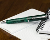 Conklin Duragraph Ballpoint - Forest Green - Open on Notebook
