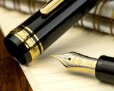 Sailor Pro Gear Fountain Pen - Black with Gold Trim - Nib on Notebook