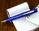 Conklin All American Ballpoint - Lapis Blue - Open on Notebook