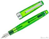 Sailor Professional Gear Slim Fountain Pen - Transparent Green with Rhodium Trim - Open