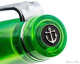 Sailor Professional Gear Slim Fountain Pen - Transparent Green with Rhodium Trim - Cap Jewel